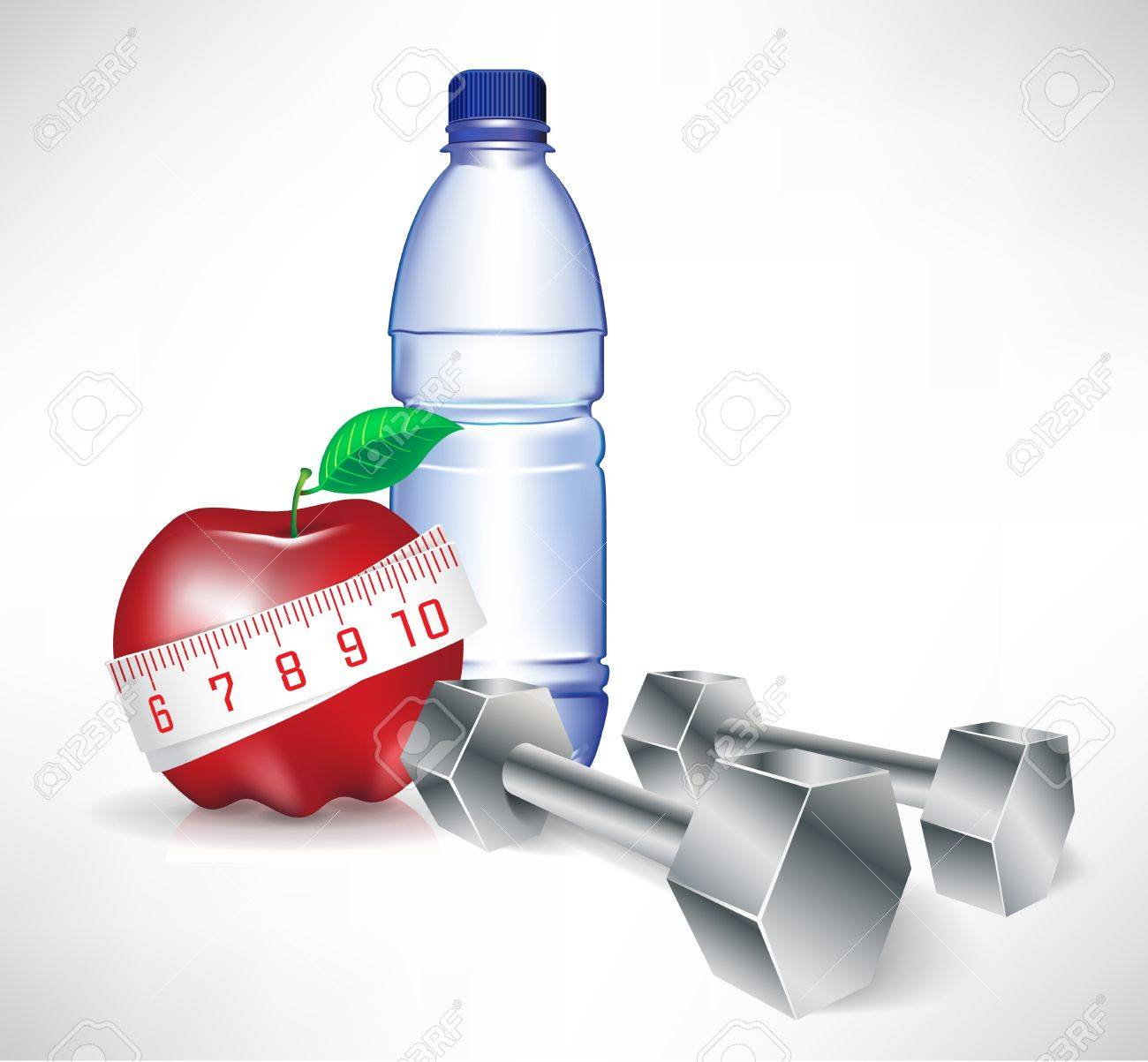 dumbbell with water bottle and apple with measure tape; fitness concept Stock Vector - 10888262