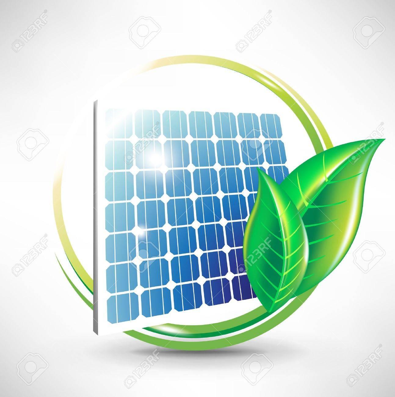 alternative solar energy; solar panel icon with leaves Stock Vector - 10959833