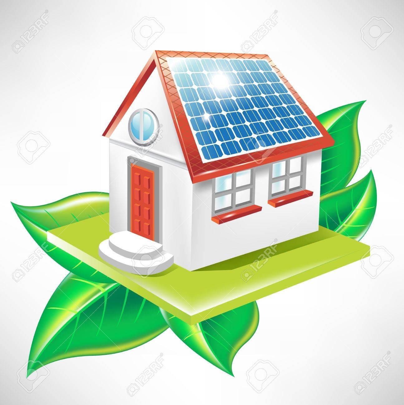 Haus Mit Solar Panel Und Blätter; Alternative Energie Symbol Standard Bild