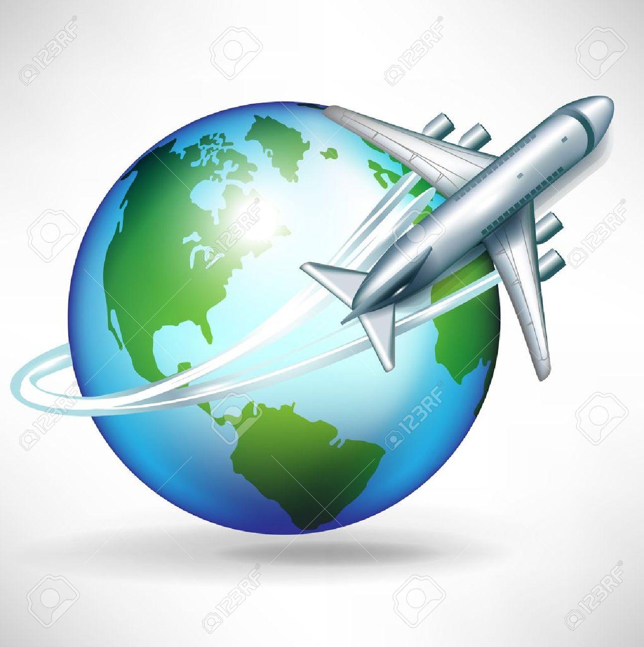 fd69925168 Avión dando vueltas alrededor de la ilustración mundo Foto de archivo -  10959867