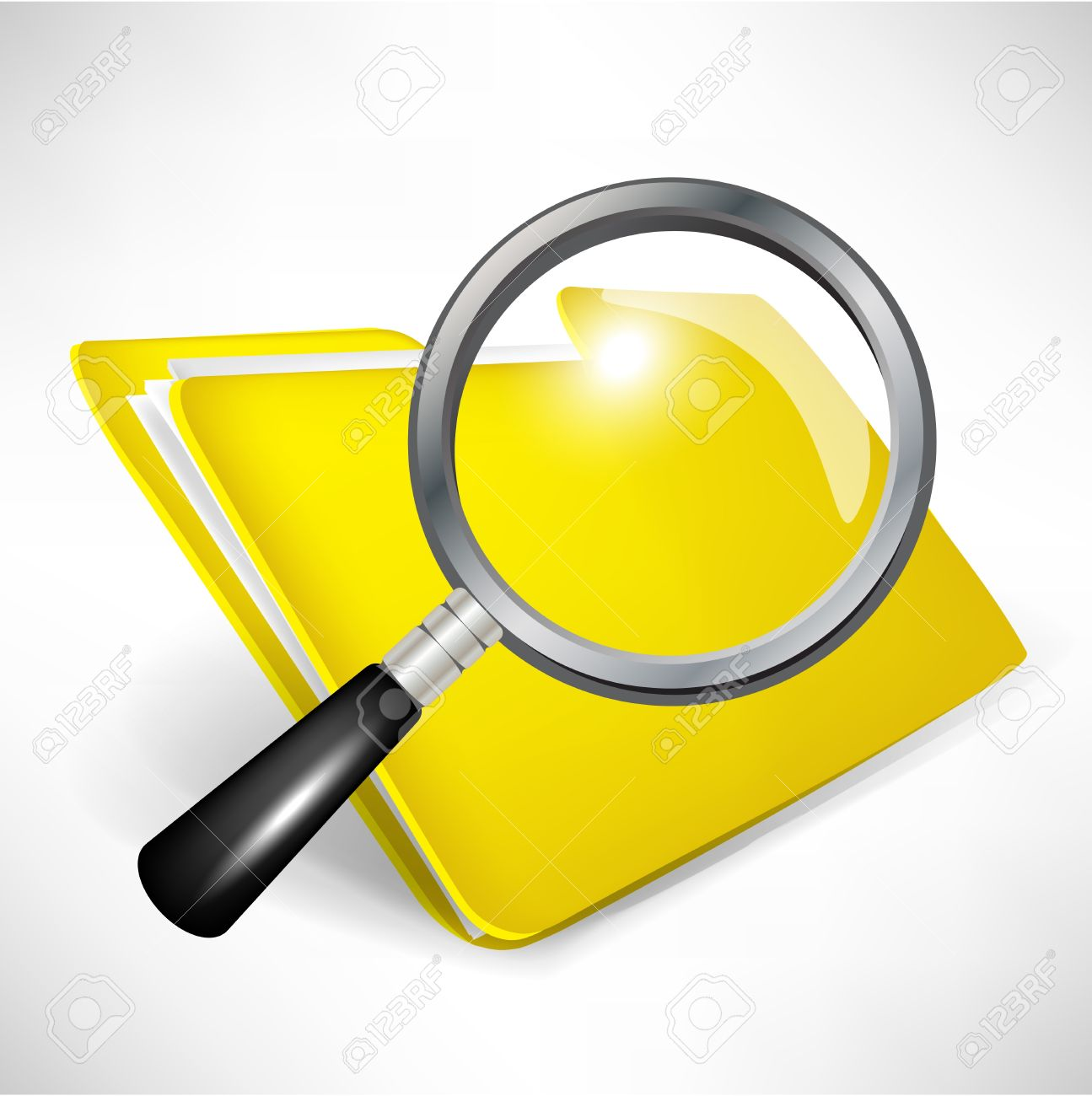 yellow folder with magnifying glass; document search concept Stock Vector - 11137369