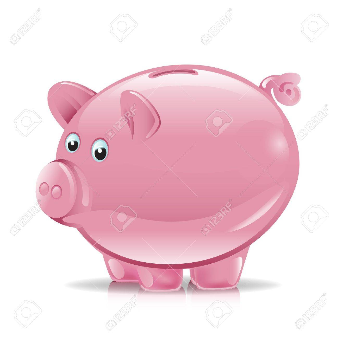 single pink piggy bank illustration Stock Vector - 11137375