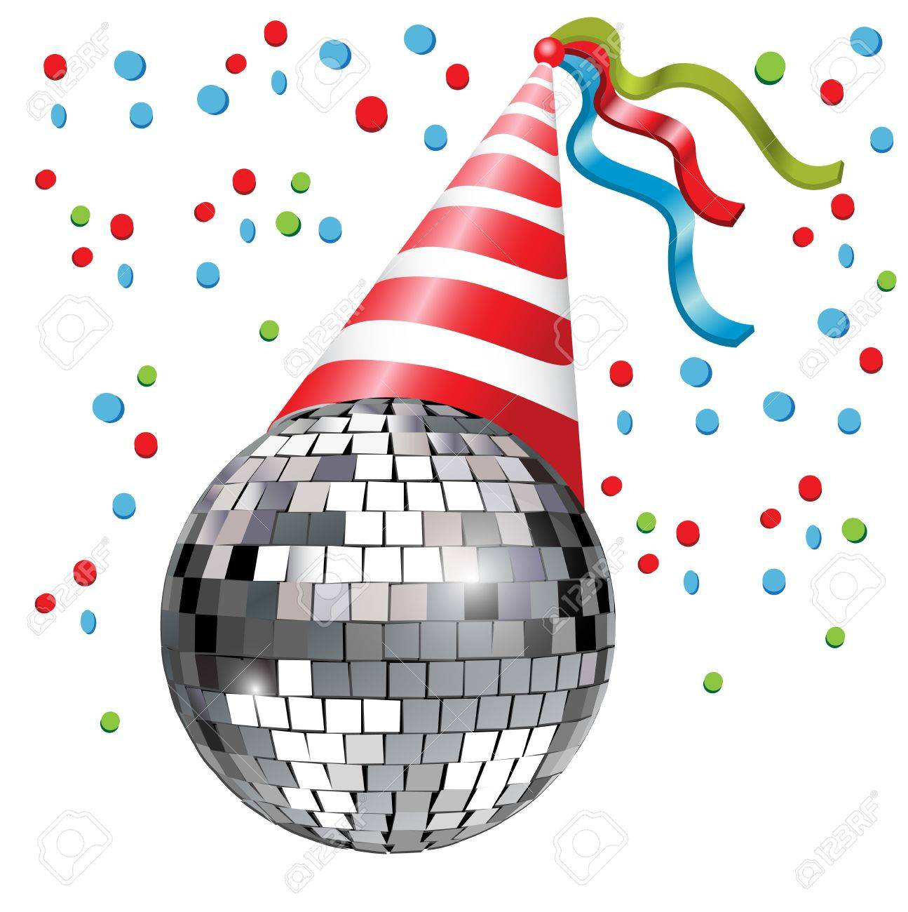 Christmas Disco Clipart.Disco Ball With Party Hat And Conffetti