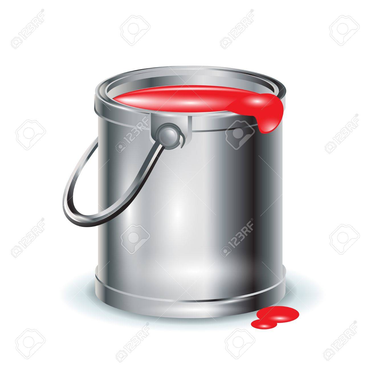 single red paint aluminum bucket on white Stock Vector - 11655489