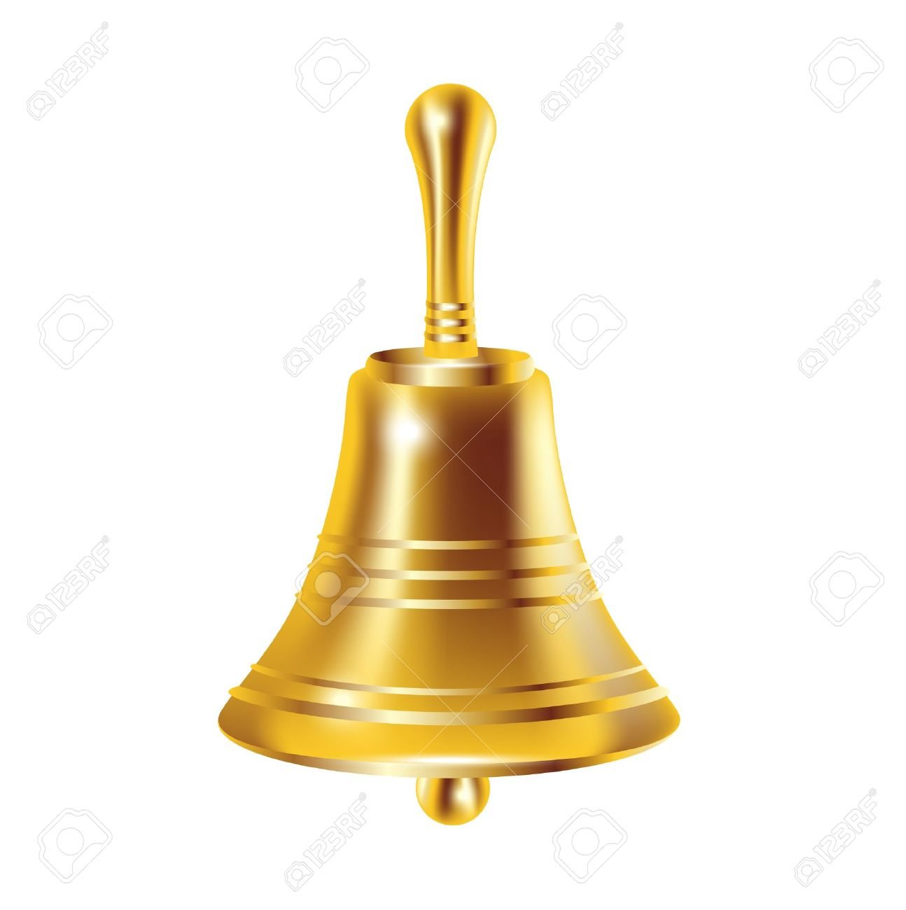 single bronze bell isolated on white - 13709529