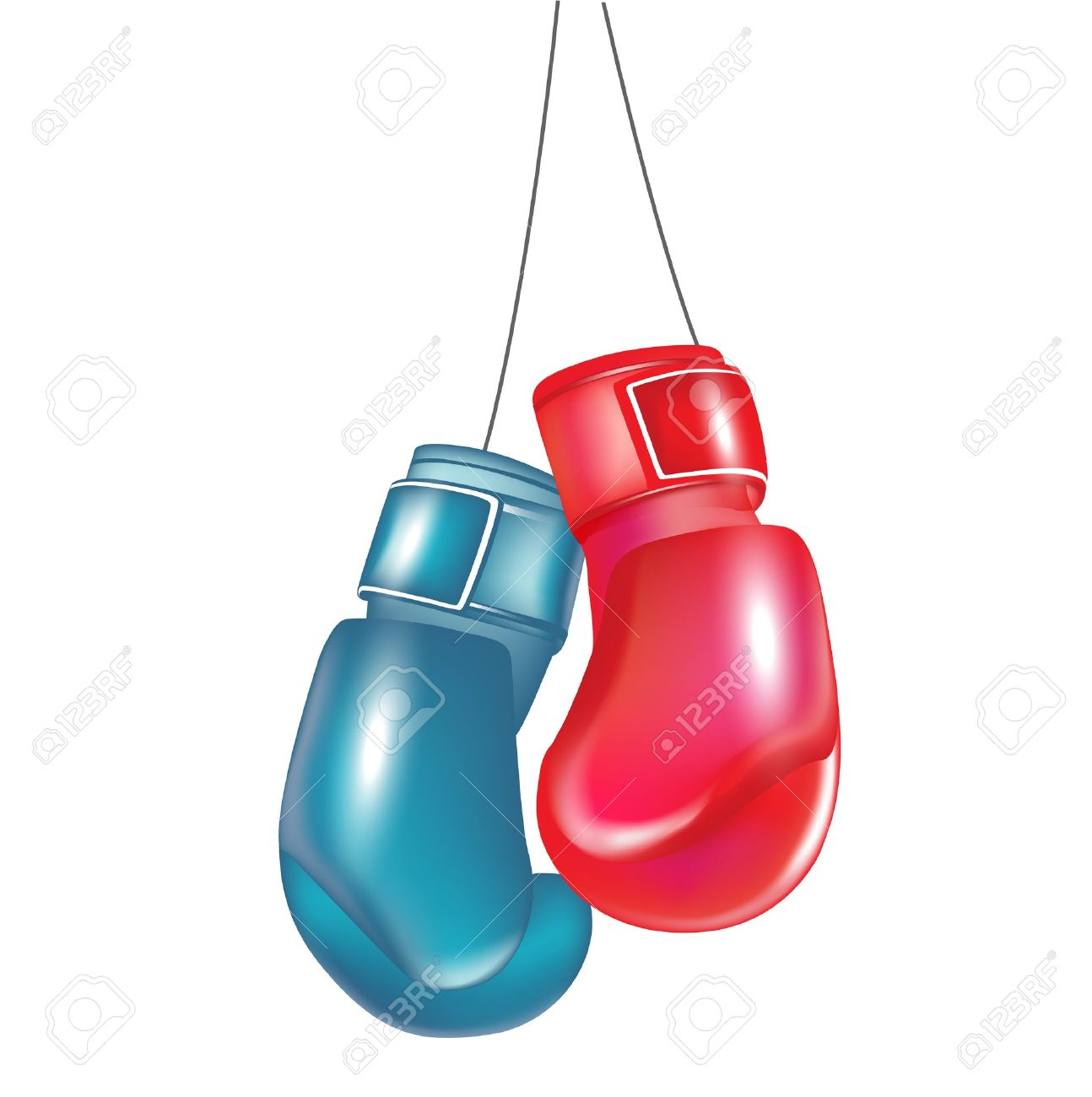 Two Boxing Gloves Hanging Isolated On White Royalty Free Cliparts ...
