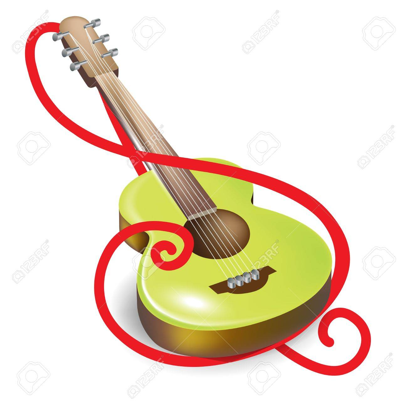 acoustic guitar and clef symbol isolated Stock Vector - 14554948