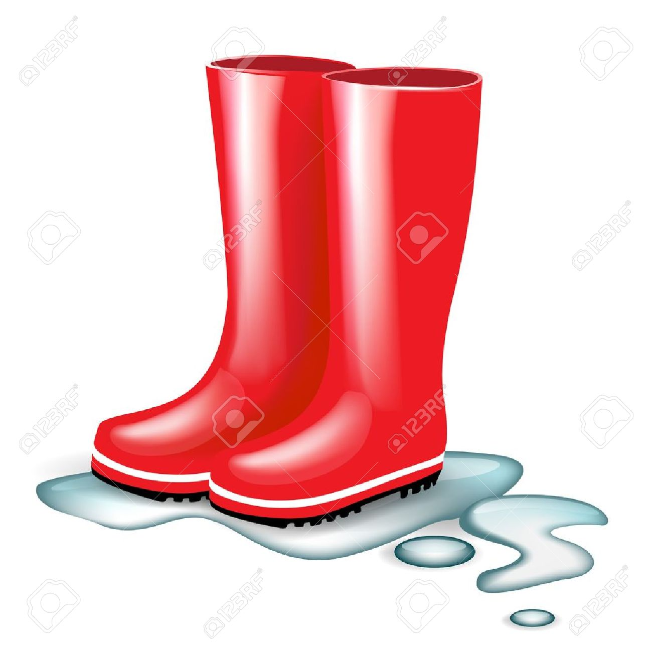 red rubber boots in splash of water isolated Stock Vector - 14554947