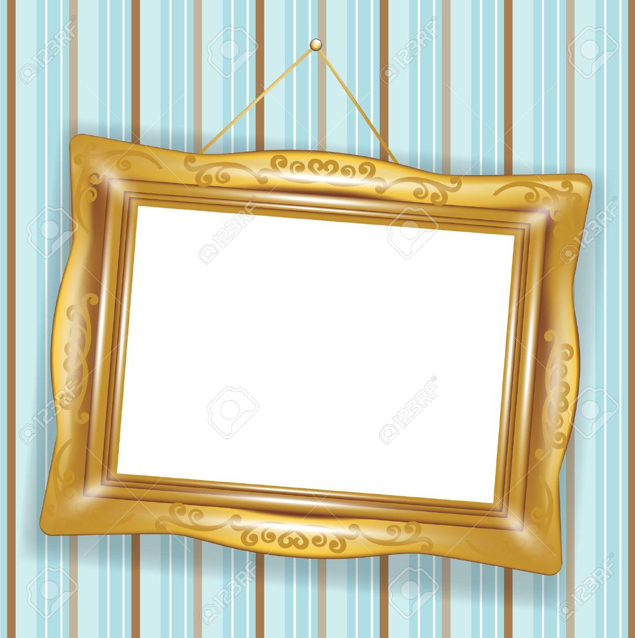 Golden Frame Wallpaper Hanged Retro Golden Frame on