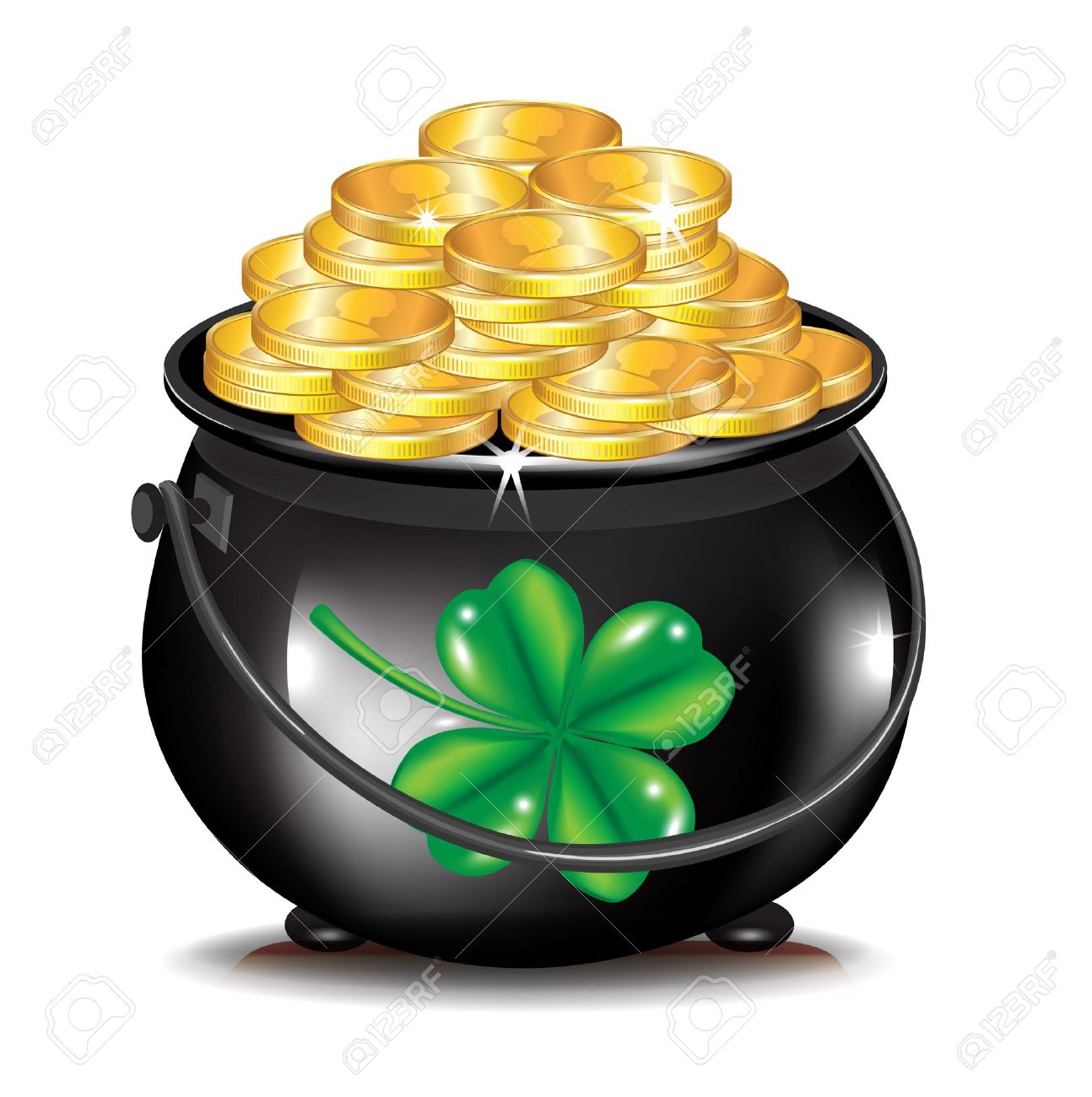 Green Pot Of Gold Clipart golden coins in black pot and