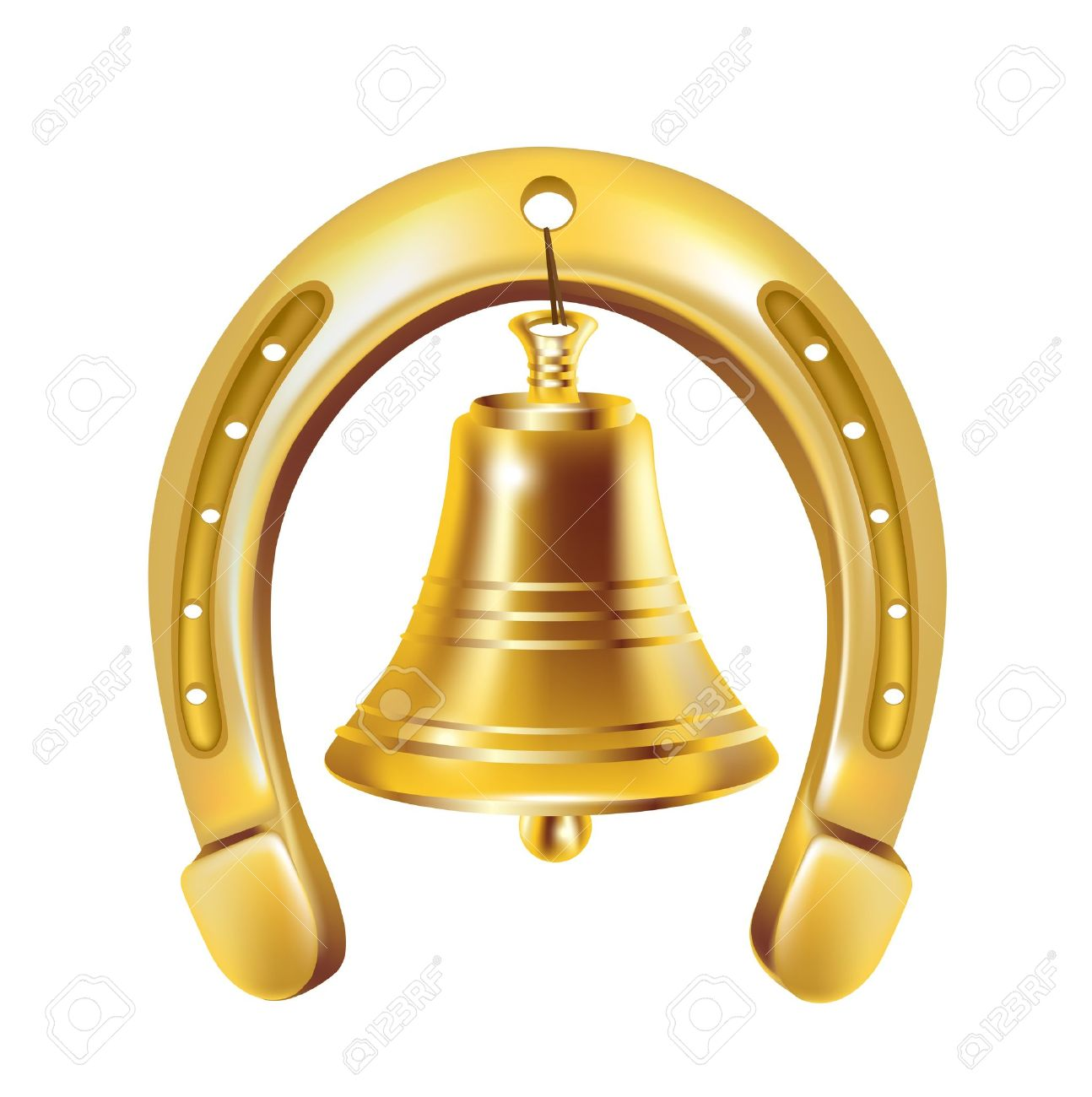 lucky horseshoe and golden bell isolated Stock Vector - 14969068