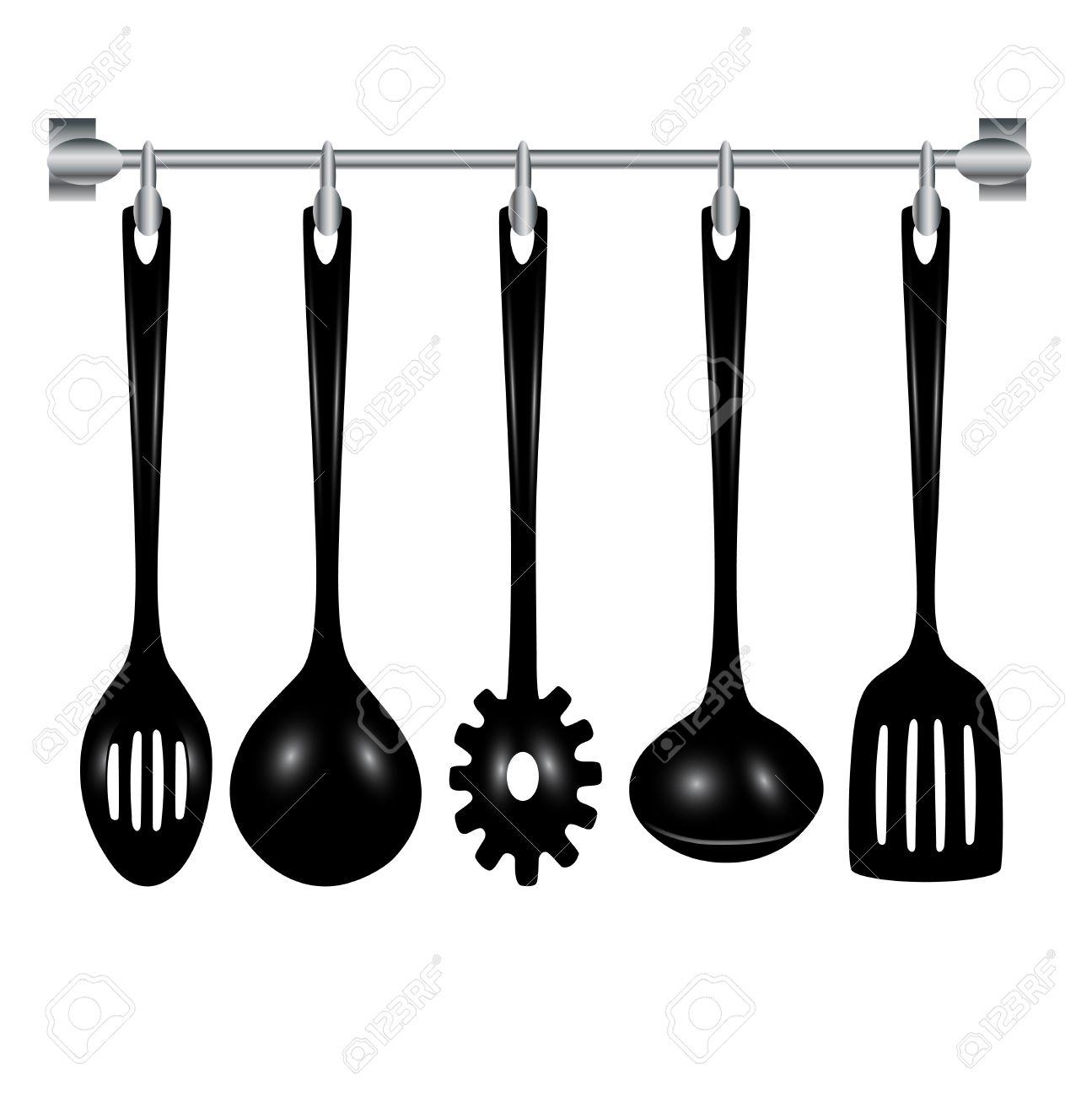Utensili Da Cucina Appesi Isolato Su Bianco Clipart Royalty-free ...