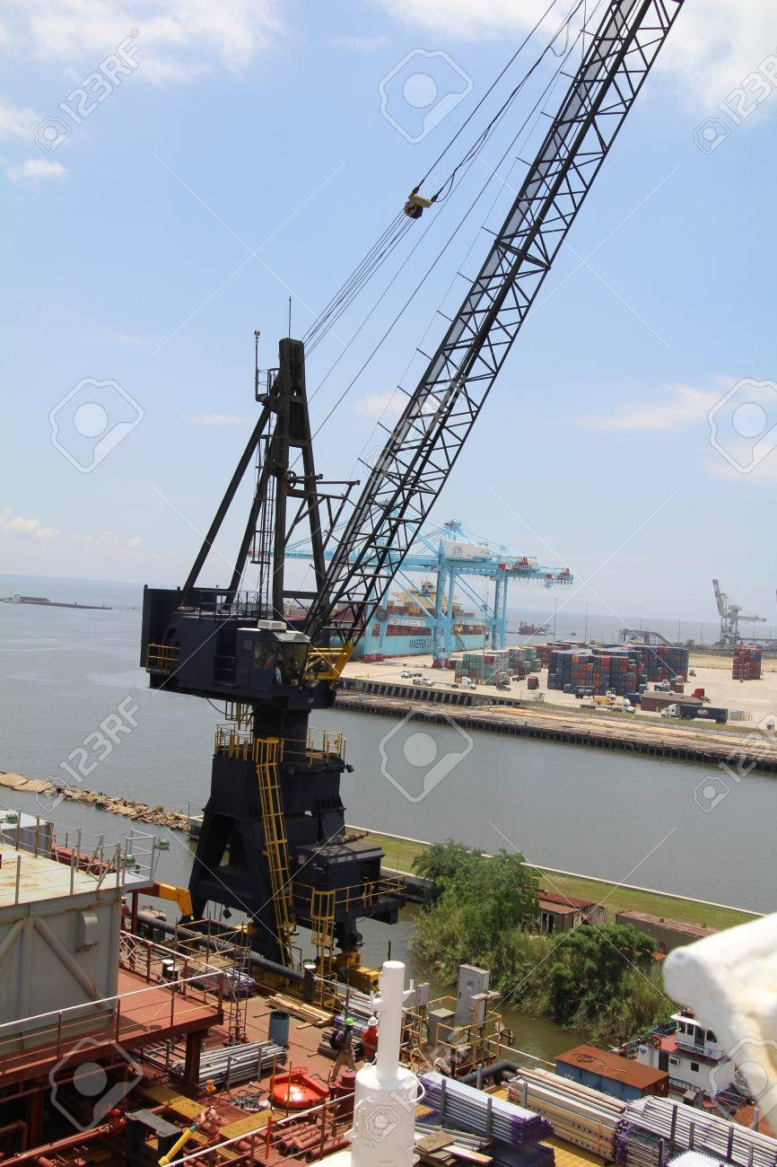Shipyard crane attached to a dry dock in Mobile, Alabama