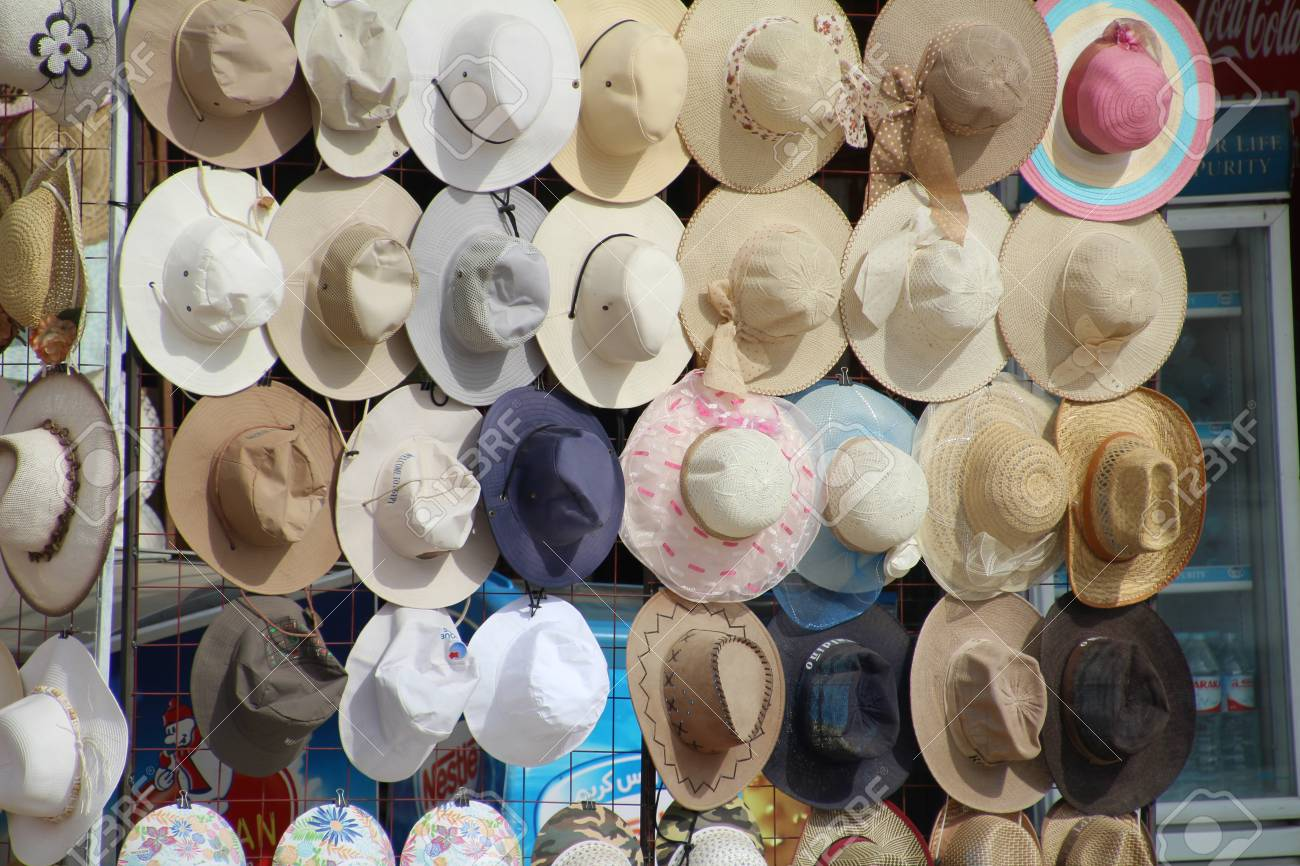 92686b75388 Stock Photo - Sun hats for sale in an Egyptian market.
