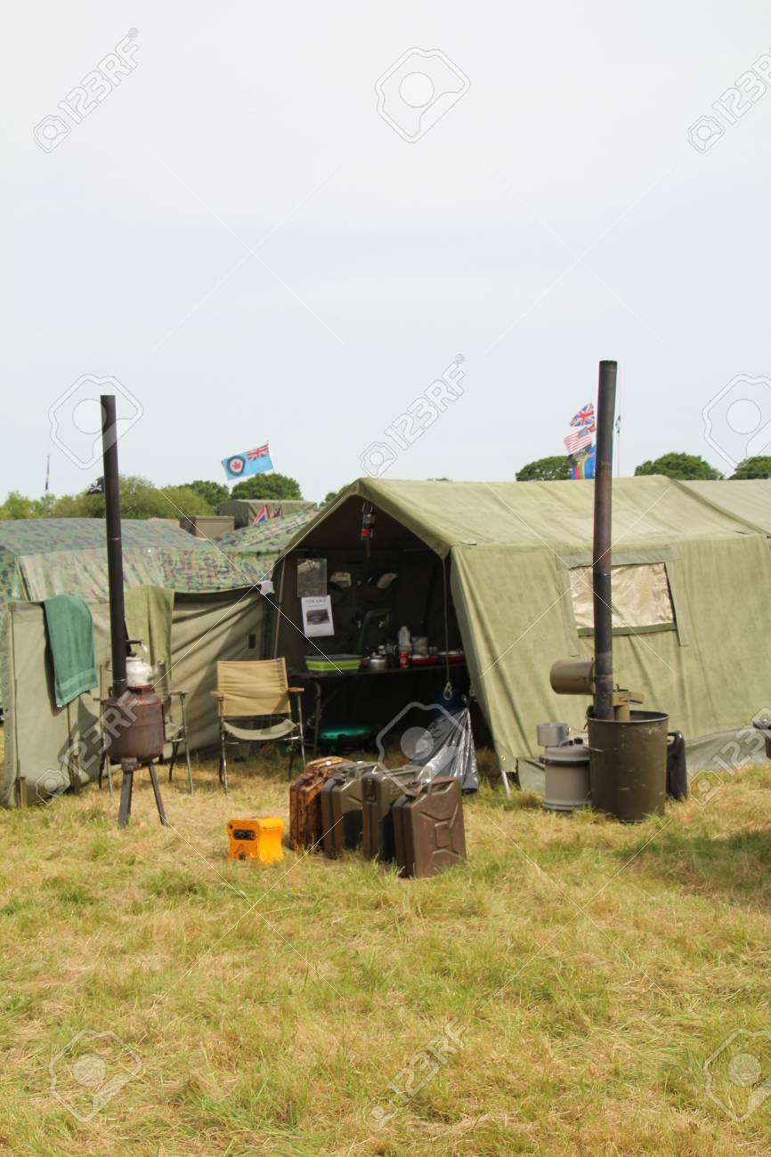 Army field kitchen set up to show how the army coped during the
