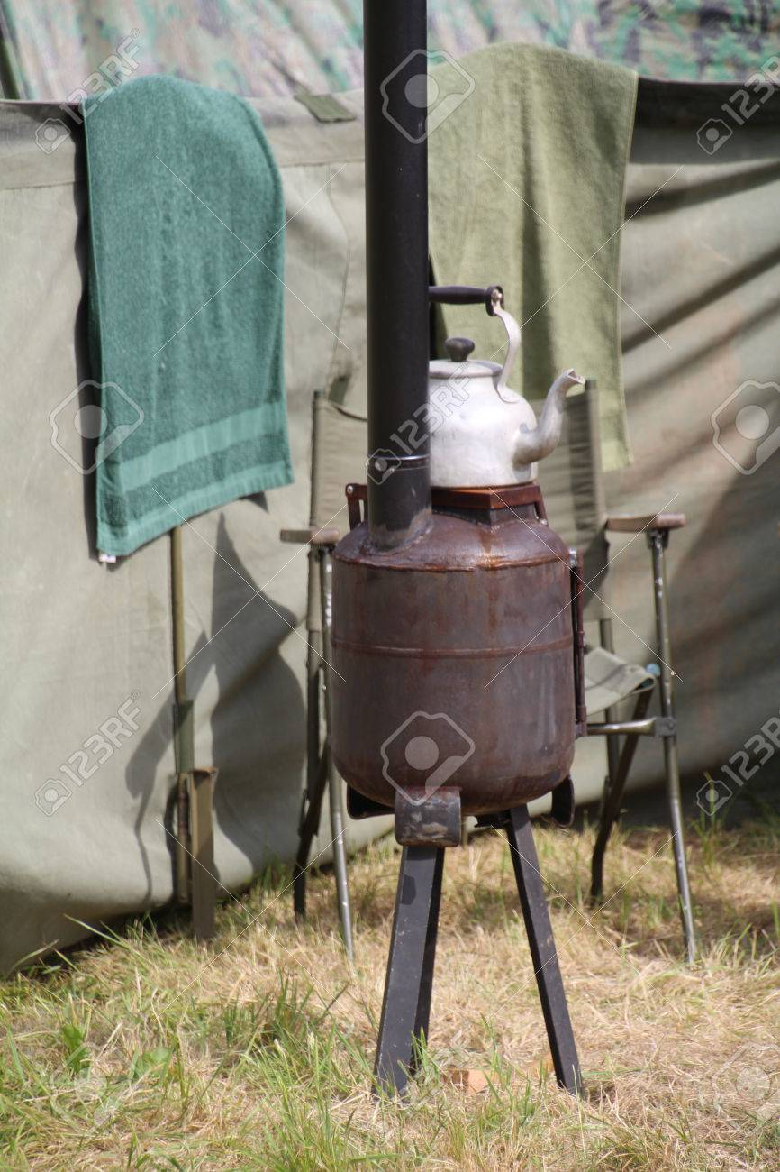 Army field kitchen stove set up to show how the army coped during