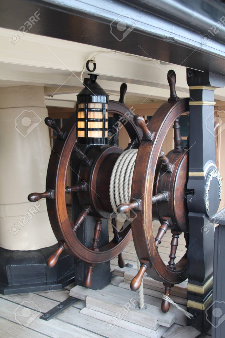 old sailing ships steering wheel stock photo picture and royalty