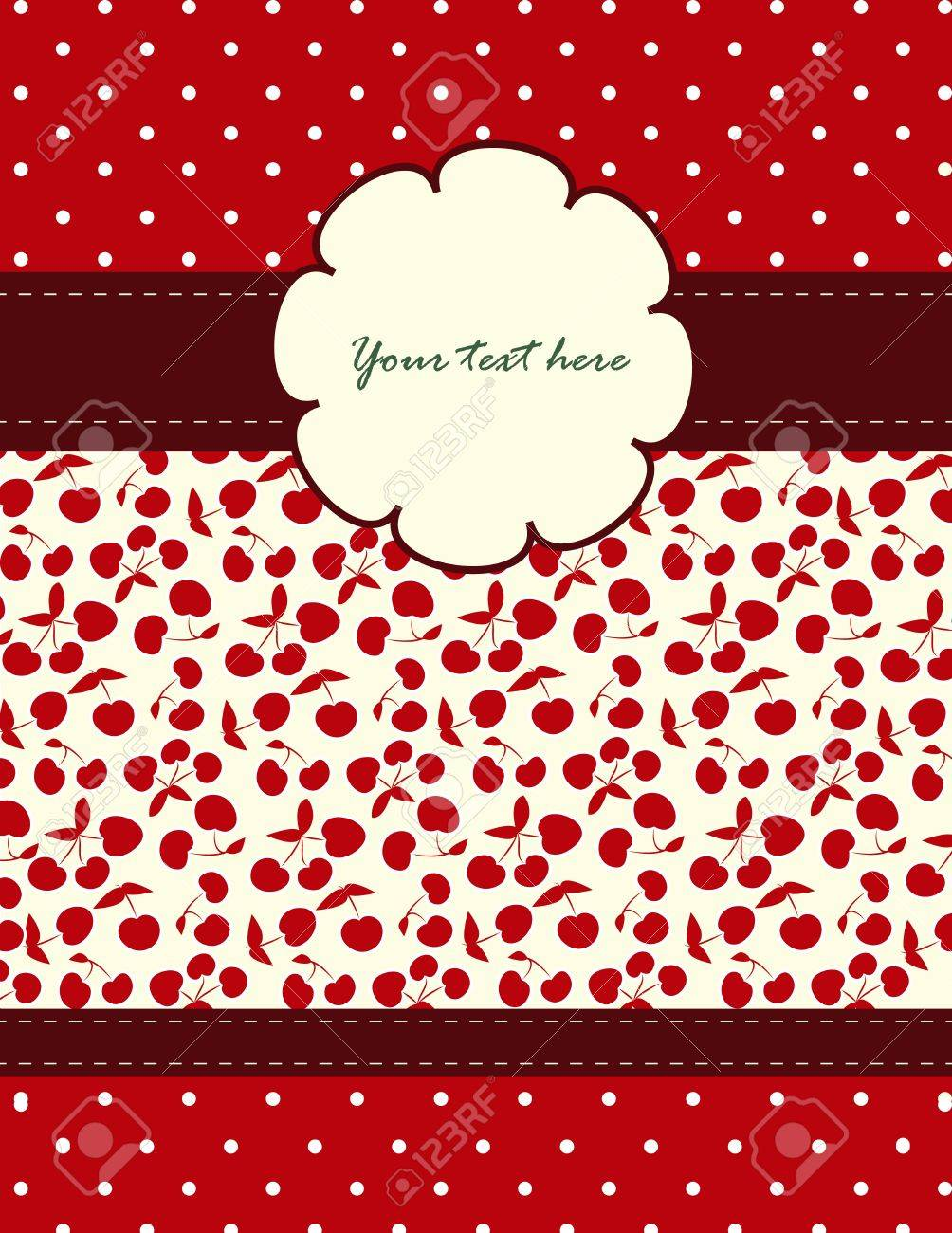 Card with cherries pattern for your holiday Stock Vector - 17055978