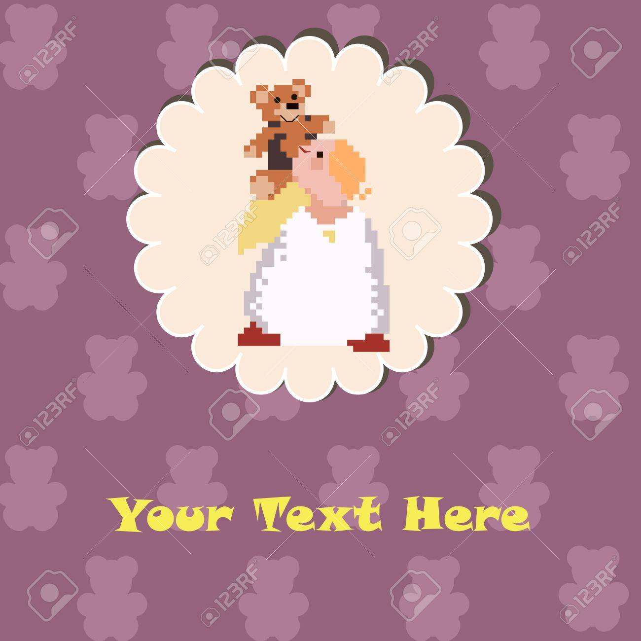 Cute Angel with a Teddy Bear on the purple background Stock Vector - 17094465
