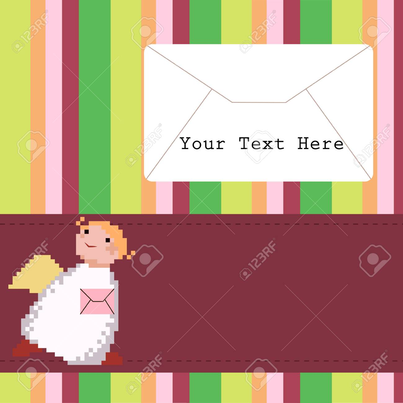 Cute Angel with a letter on the colorful background Stock Vector - 17094456