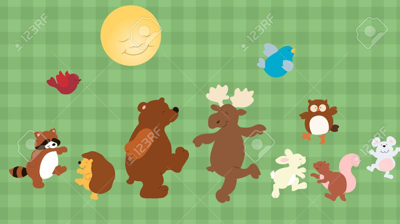 set of funny cartoon forest animals Stock Vector - 17224196