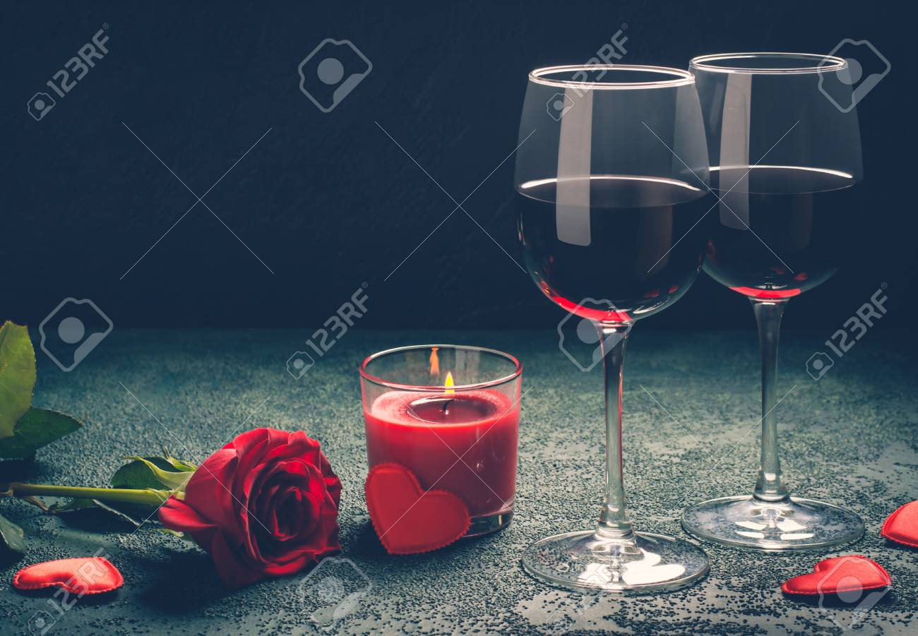 Valentines Day Greeting Card Concept Wine Glasses Rose And Stock
