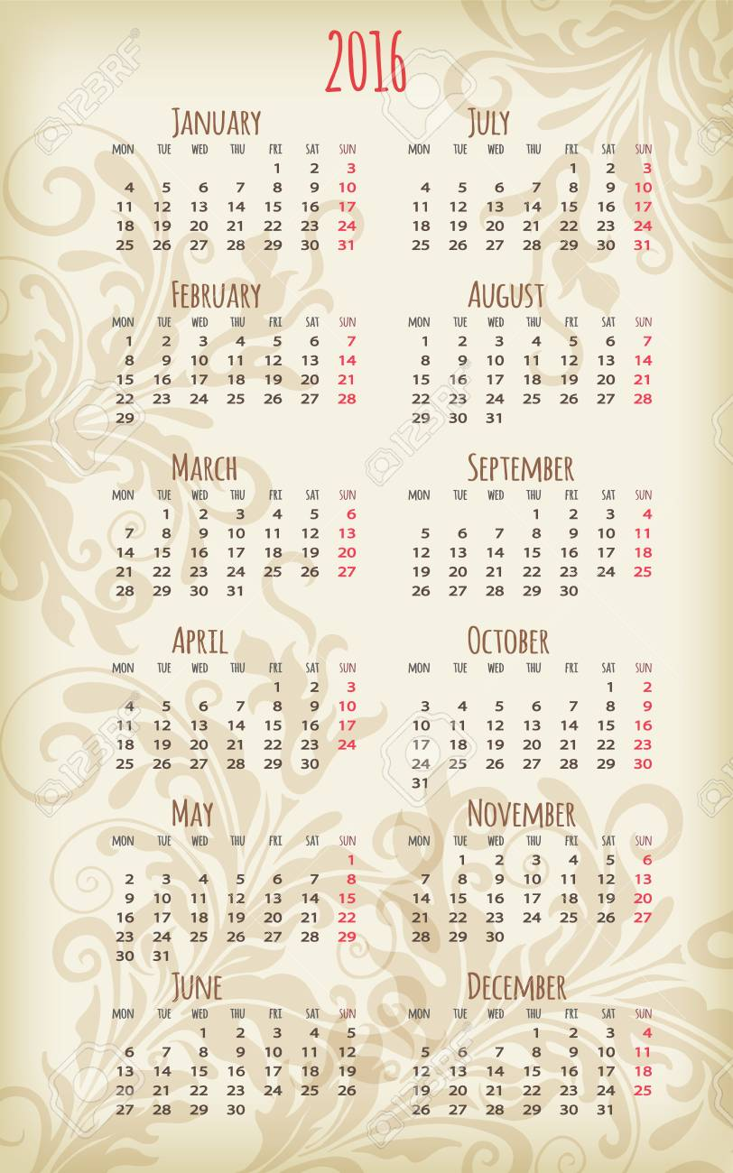 whole year calendars