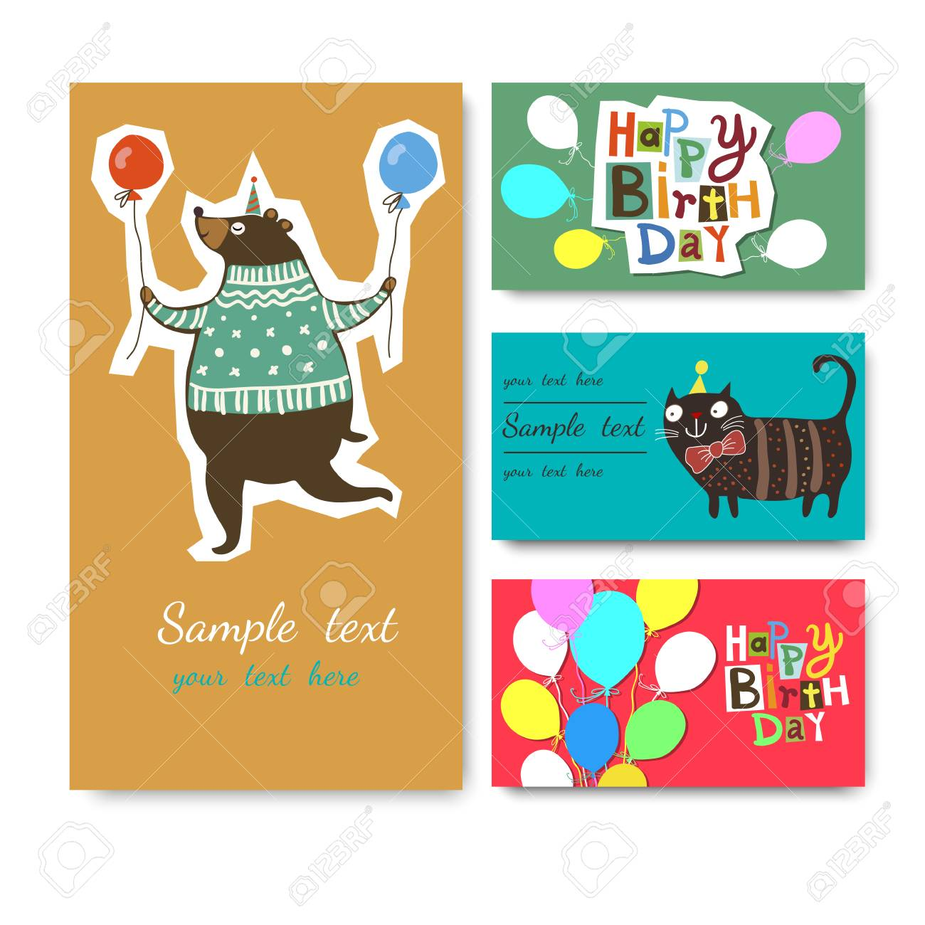 Vector Illustration Of A Happy Birthday Greeting Card Aphics