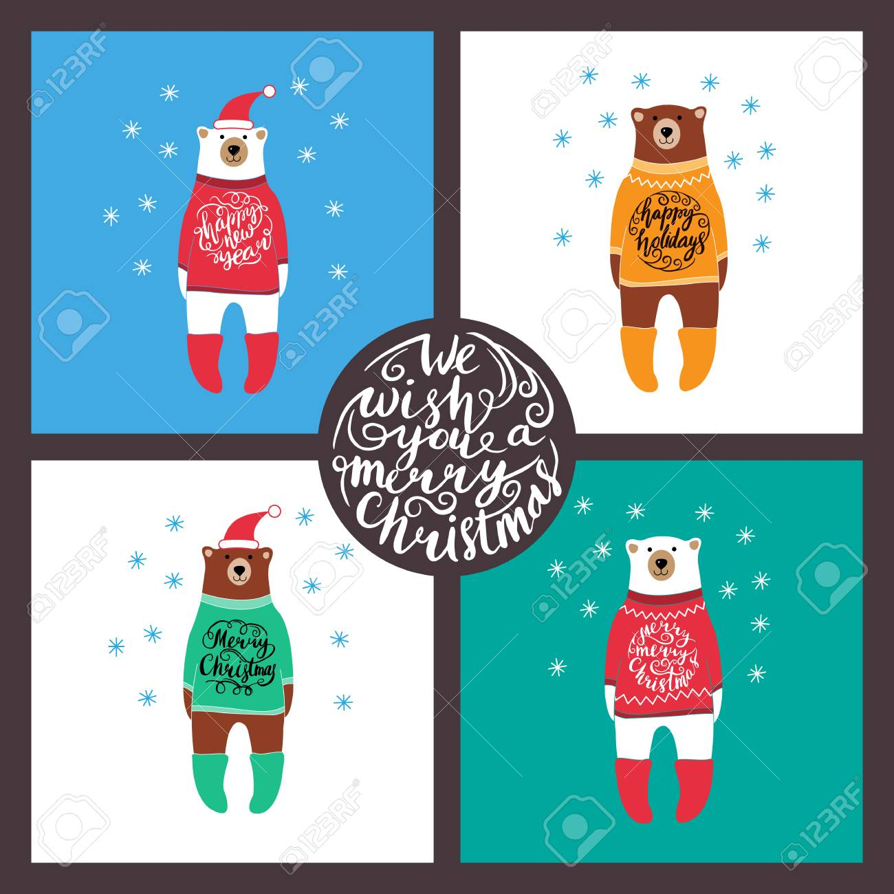 Set Of Cards With The Bears. Christmas. New Year Royalty Free ...
