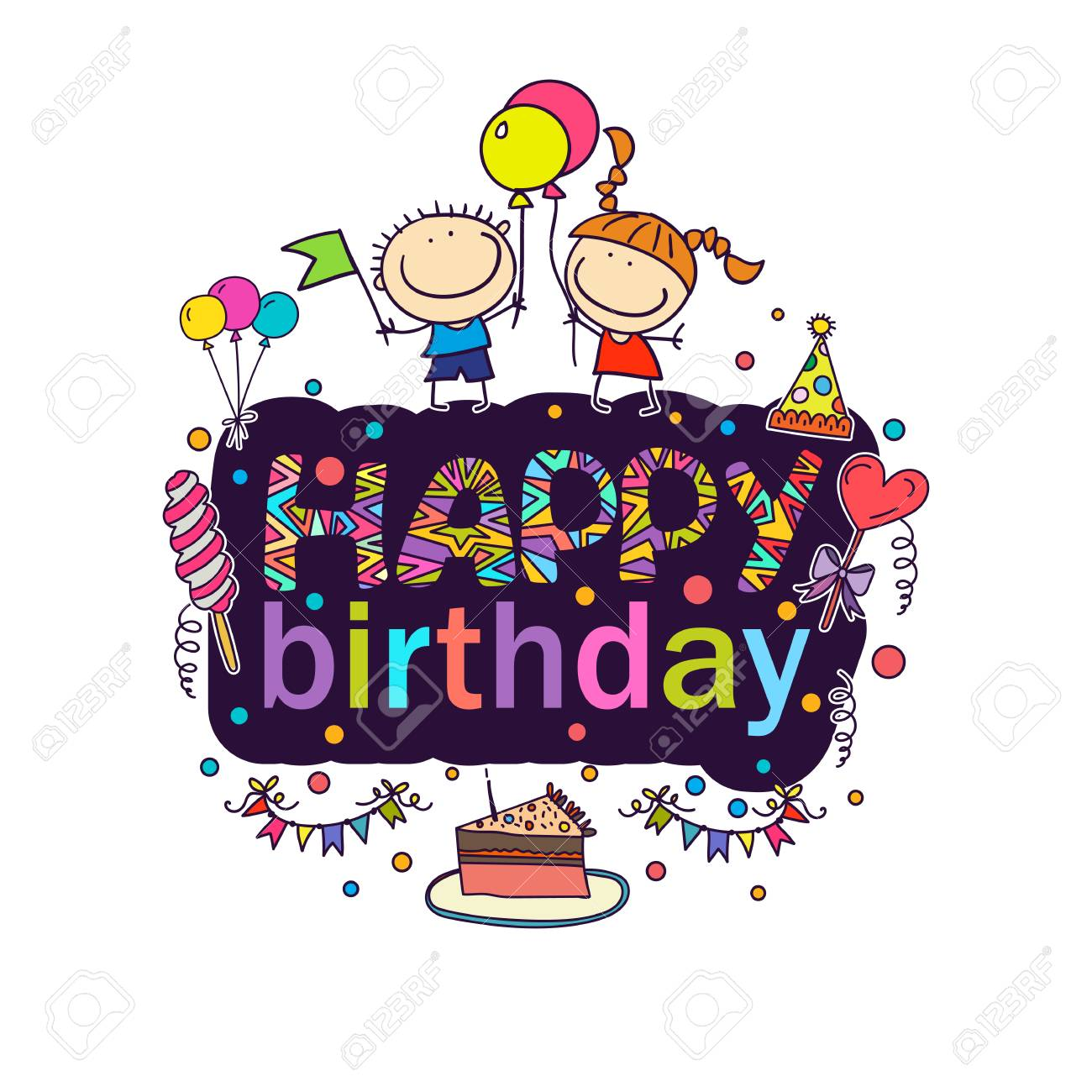 Poster For The Birthday Greetings Royalty Free Cliparts Vectors