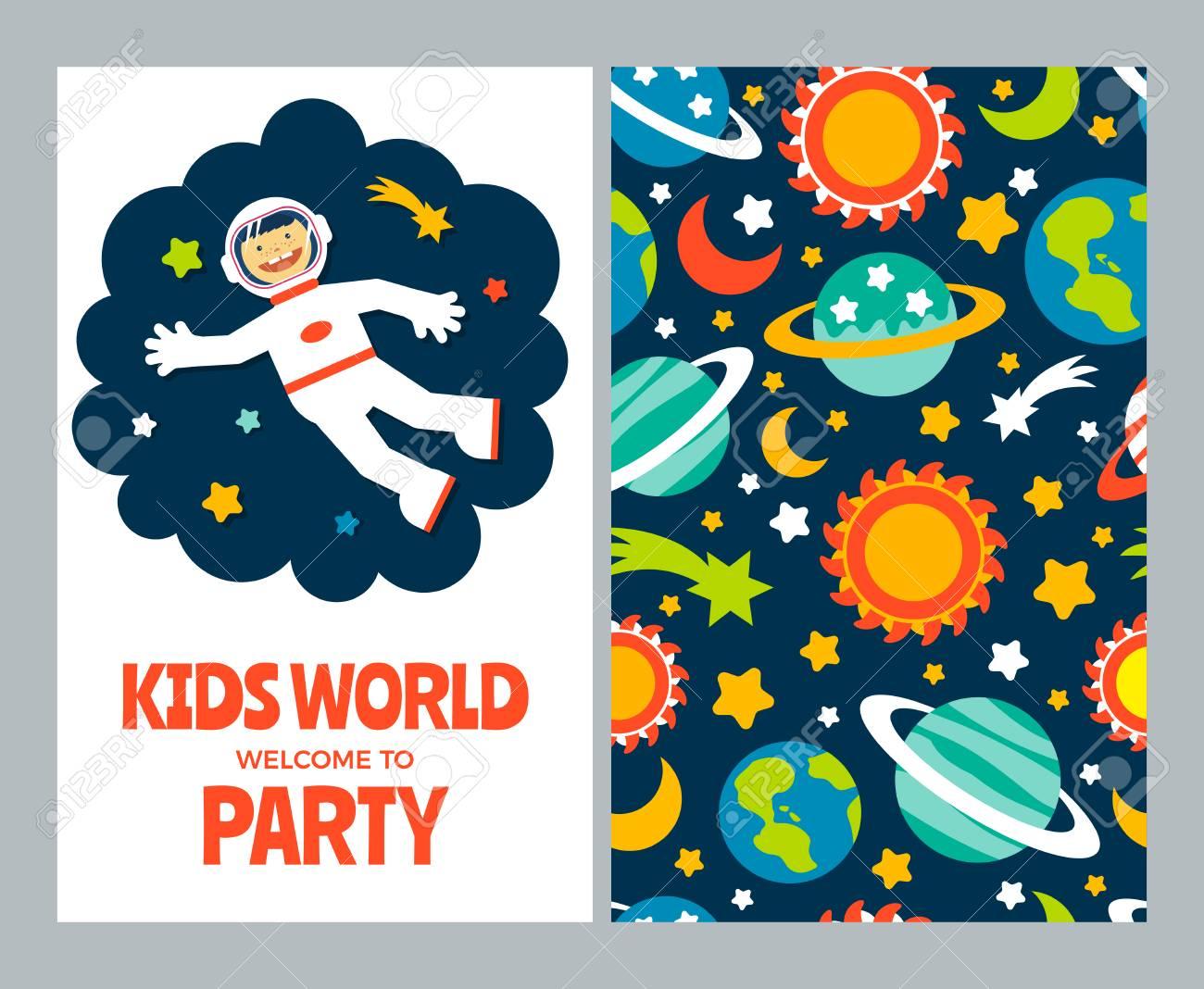 Flat Design Vector Illustration Child S Rocket Birthday Party