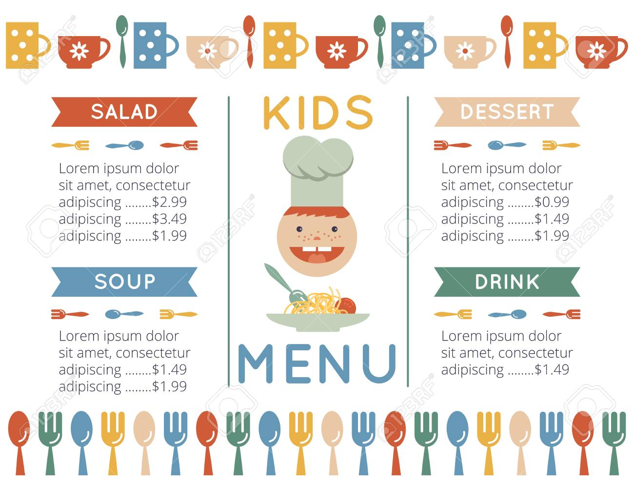 Kids Menu Template Stock Photo Picture And Royalty Free Image