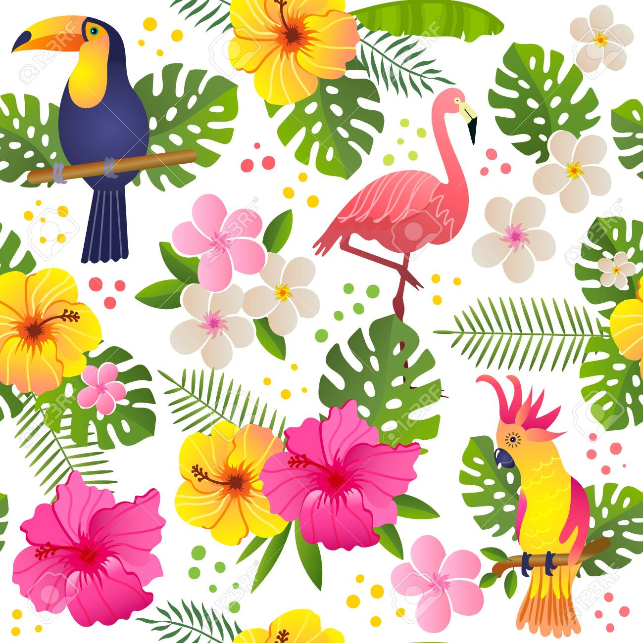 toucan and parrot sits on a flowering branch vector illustration seamless pattern - 144532454