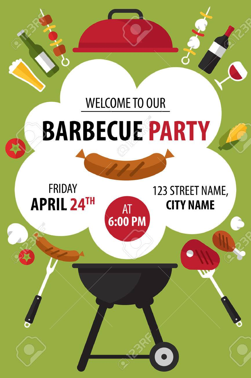 colorful barbecue party invitation vector illustration royalty