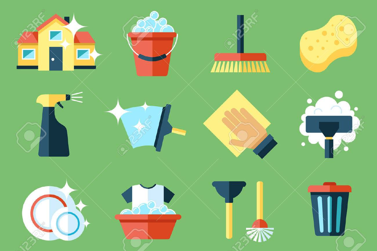 Vector set of cleaning tools. Flat design style. - 53441039