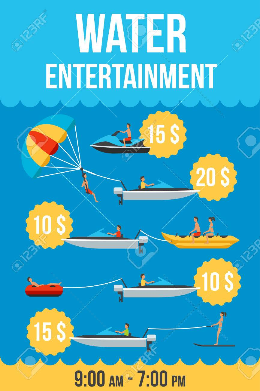 Colorful Vector Price List Template Of Water Entertainment – Template for Price List