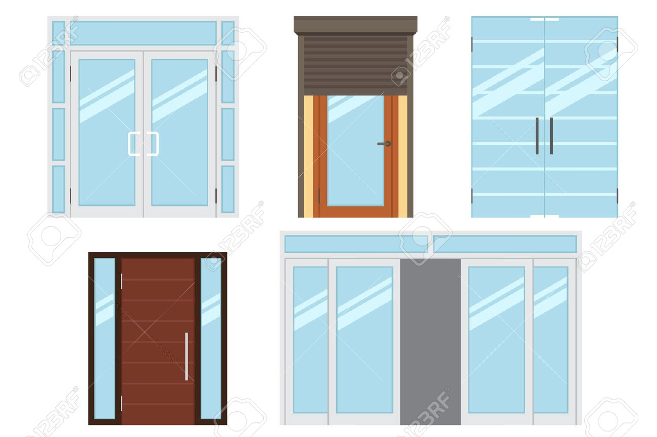 Vector collection of various types of modern entrance doors for office, home, store, mall, shop, supermarket. Isolated on white. Flat style. - 53441190