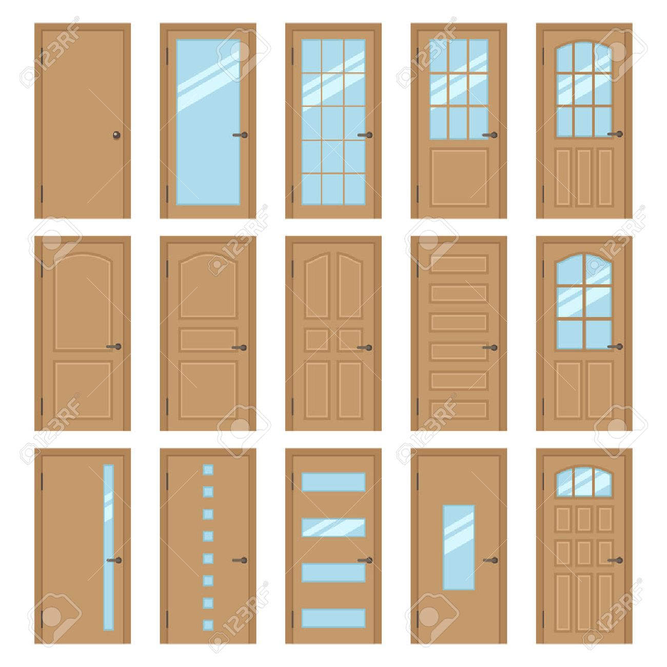 Decorating door types pics : Vector Collection Of Various Types Of Wooden Interior Doors ...