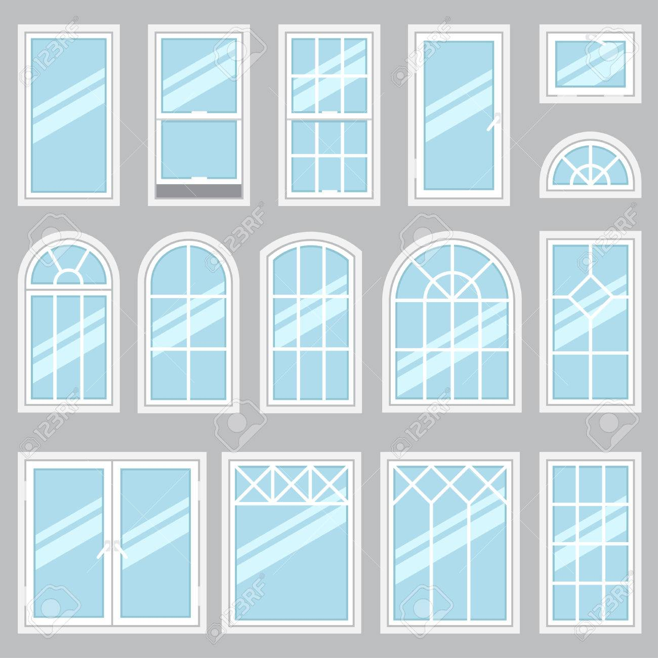 Vector collection of various windows types. For interior and exterior use. Flat style. - 53441259