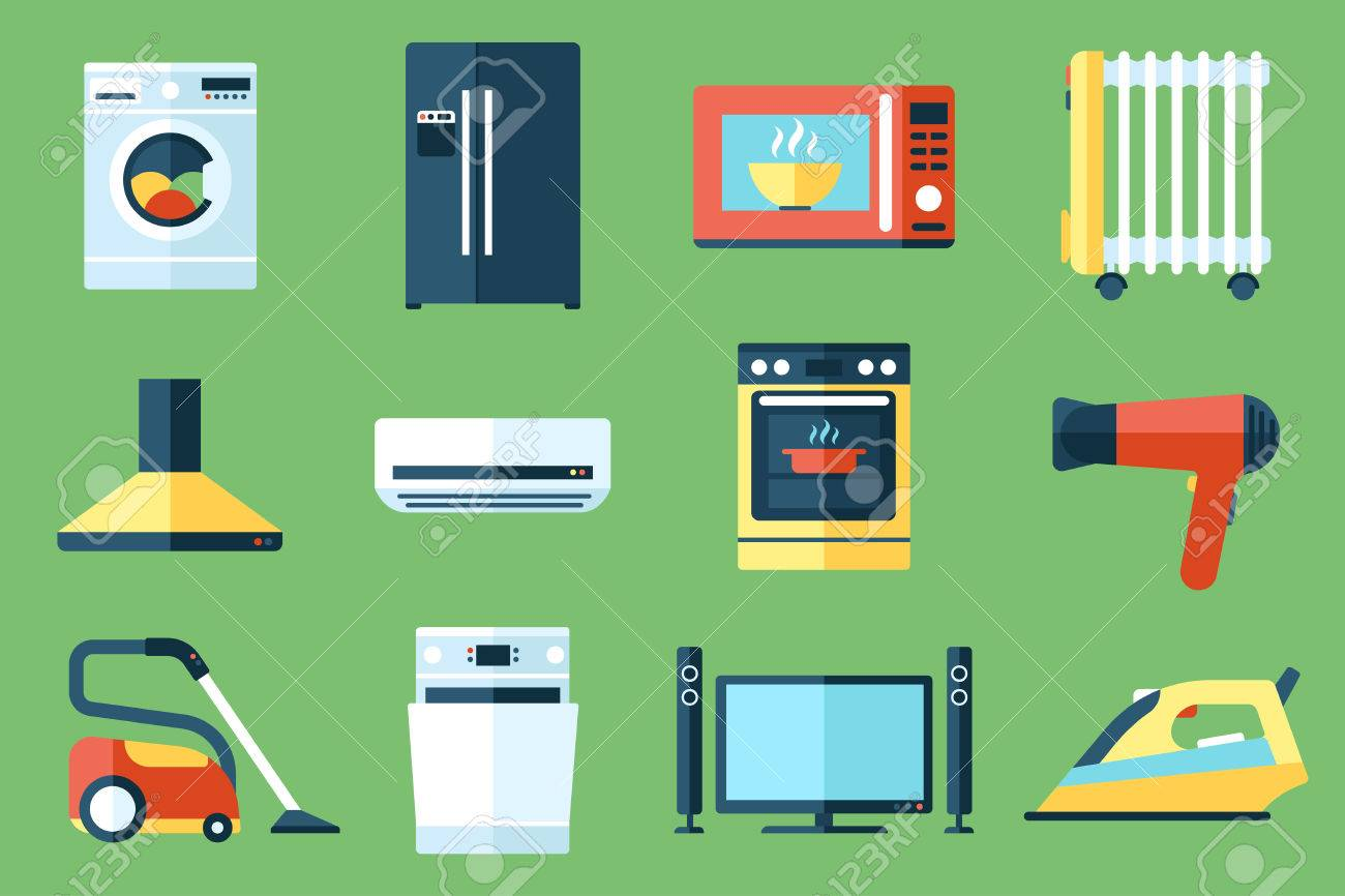Vector collection of household appliances icons. Flat style. - 53441801