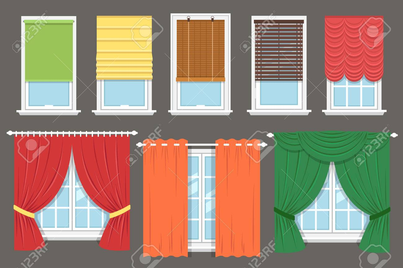 Vector Collection Of Various Window Treatments Curtains Drapery Royalty Free Cliparts Vectors And Stock Illustration Image 53441826