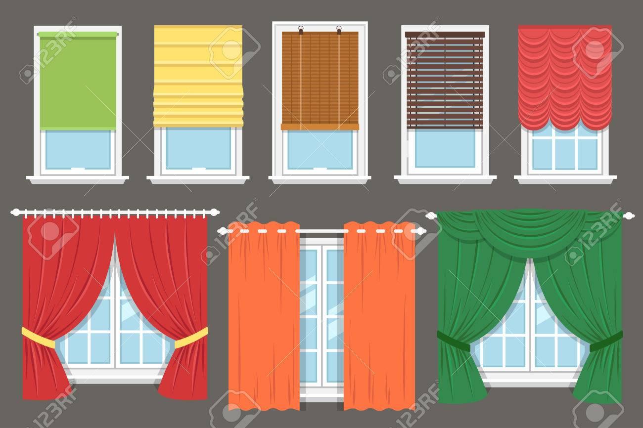 Innenarchitektur Gardinen Rollos Das Beste Von Vektor-sammlung Von Fenster Behandlungen: Gardinen, Vorhänge, Rollos,