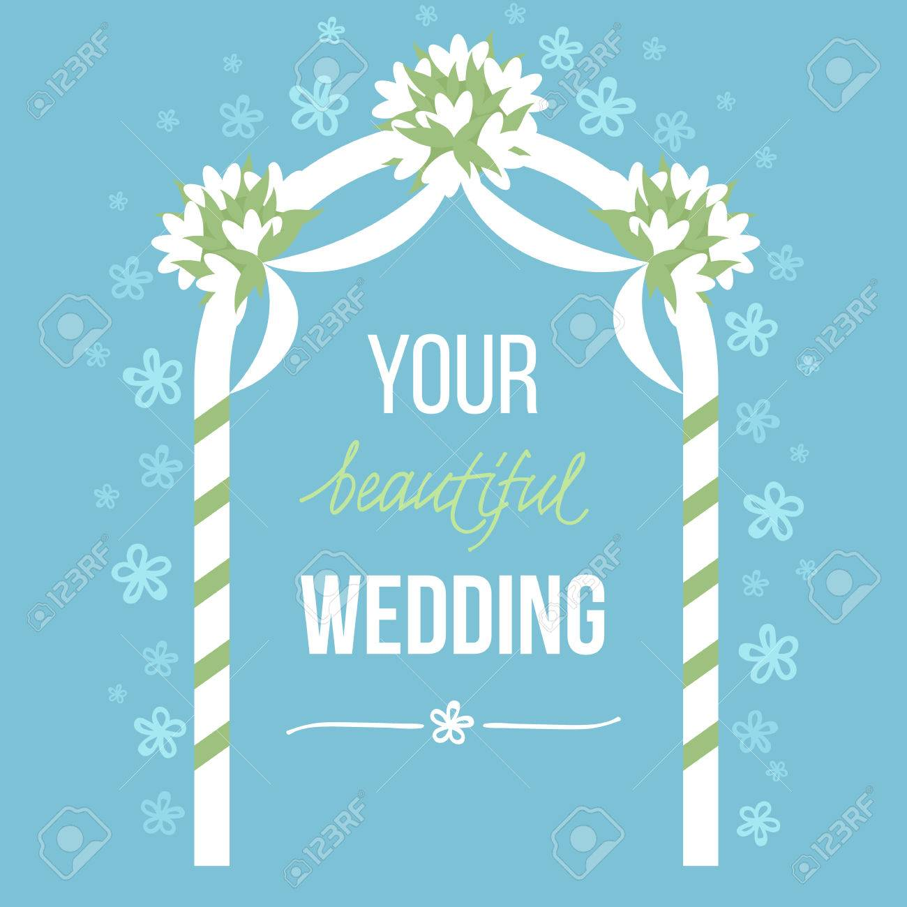 Vector illustration of wedding decoration with and hand drawn elements. Soft pastel colors. Flat style - 53441866