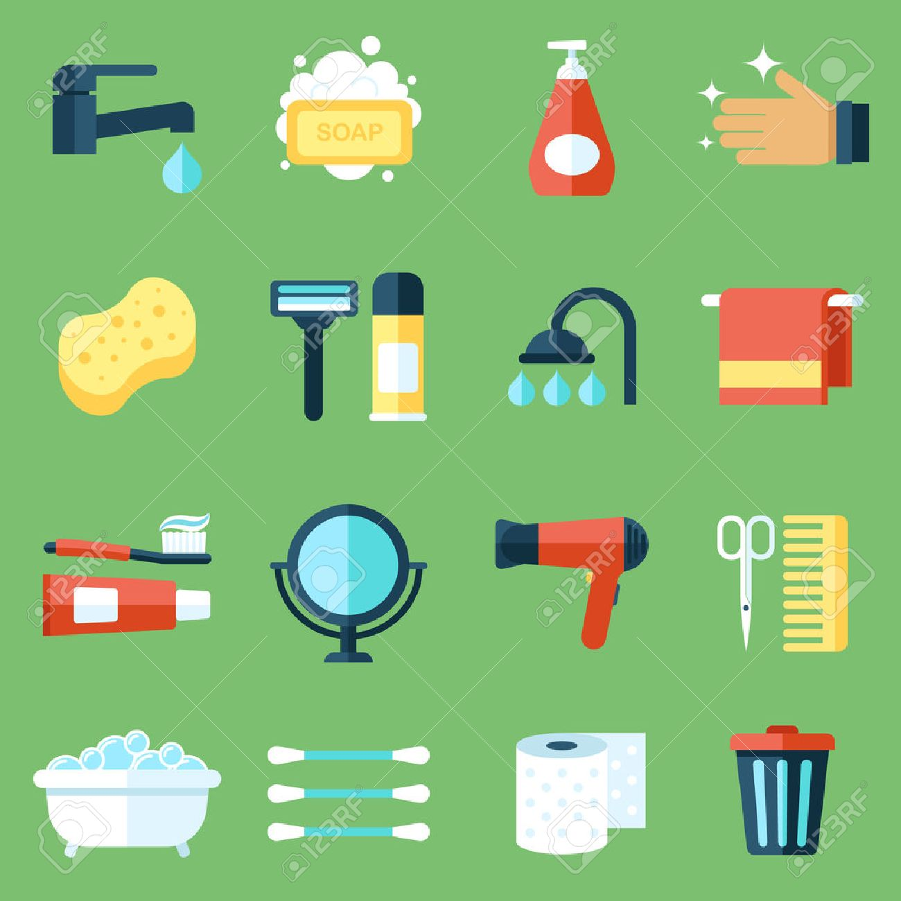 Vector Set Of Personal Hygiene Icons Flat Design Style