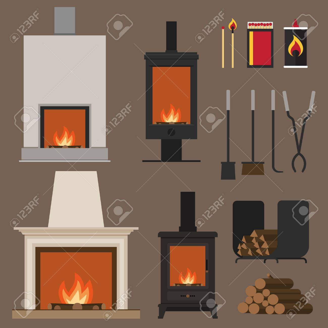 Set of vector fireplaces, with woods, tools and accessories. Flat style. - 53442205