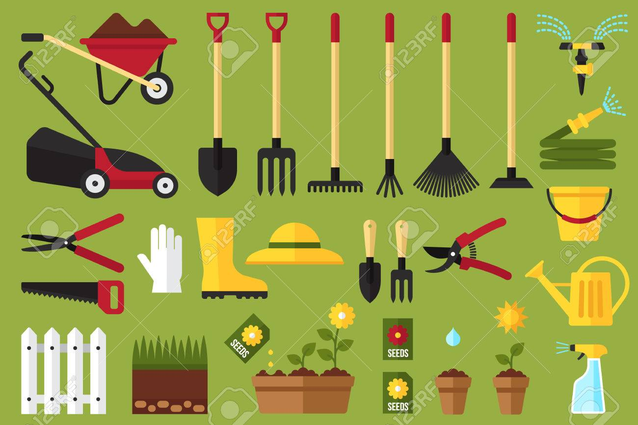 Colorful Vector Set Of Garden Icons: Garden Tools, Equipment, Planting  Process. Flat