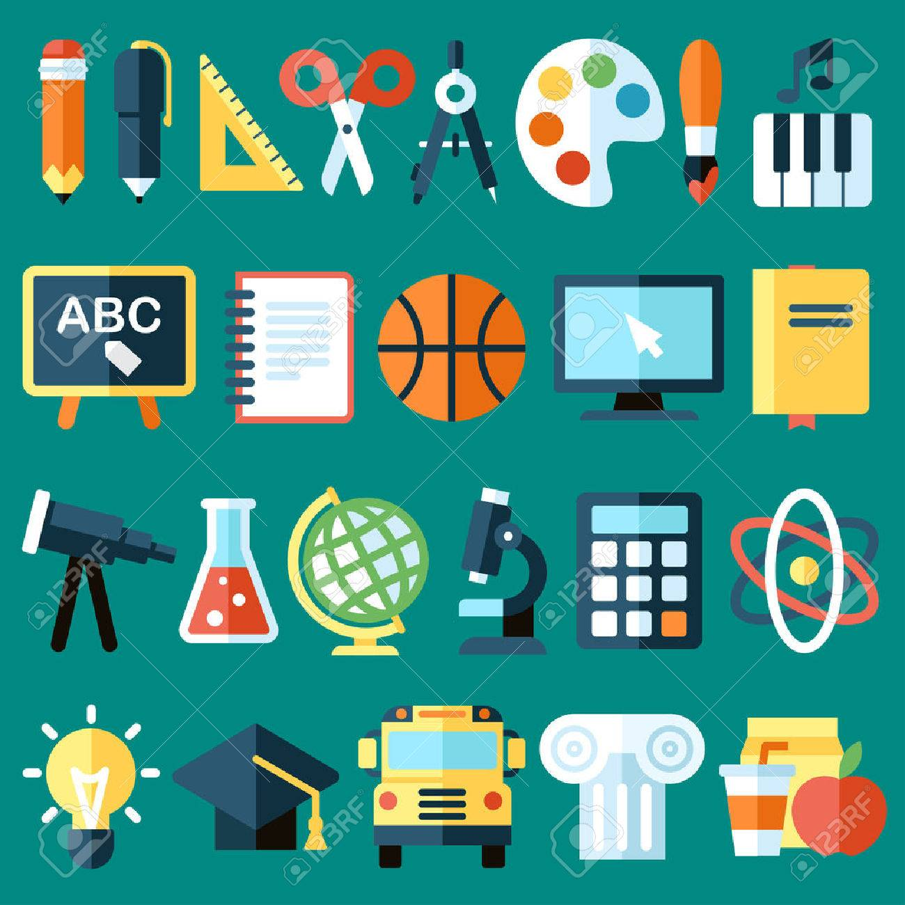 Big vector collection of colorful school icons. Flat style. - 53774217