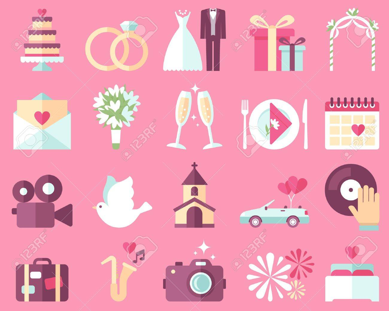 Big vector collection of wedding icons on pink background. Flat style. - 53774219
