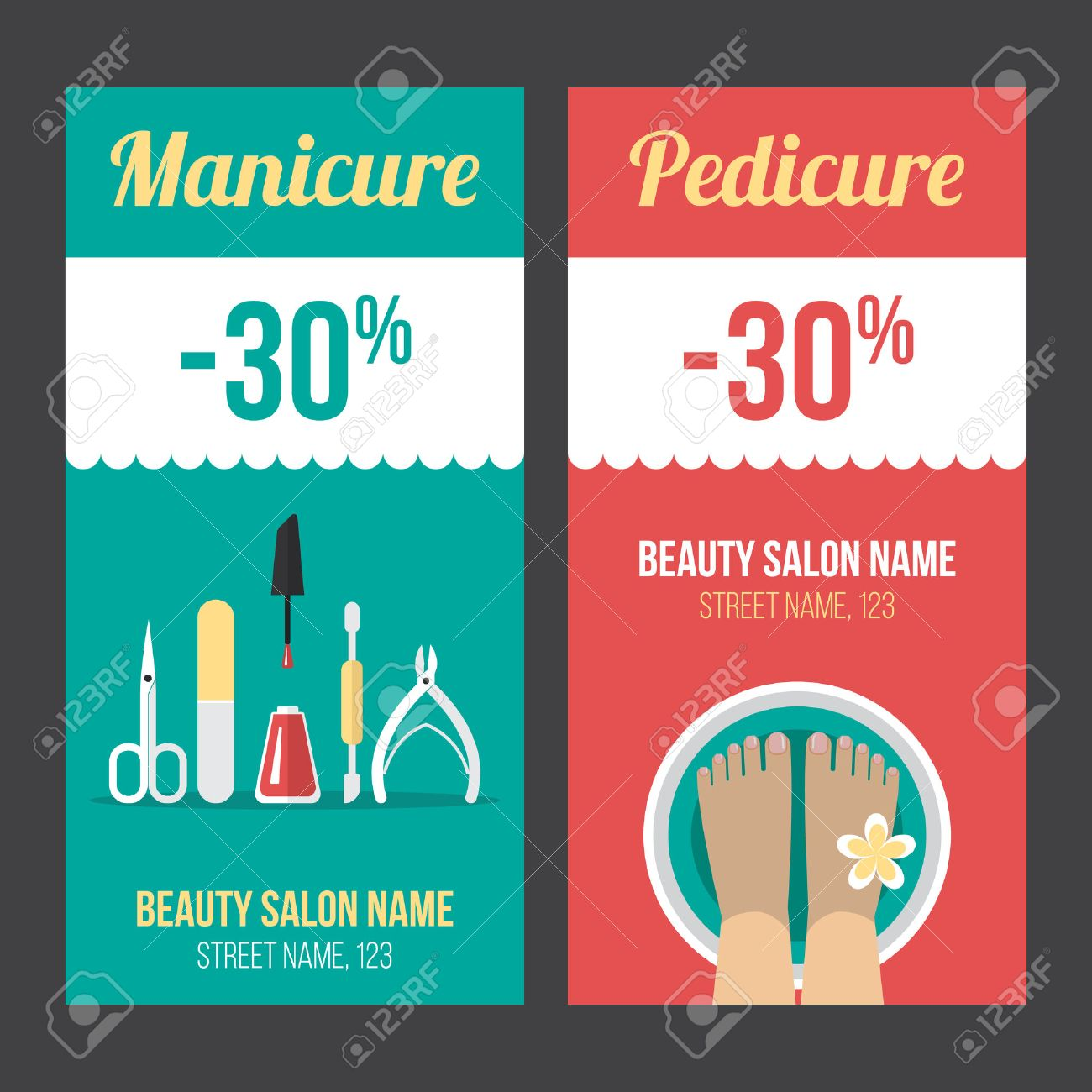 vector manicure and pedicure discount flyer voucher coupon vector manicure and pedicure discount flyer voucher coupon poster or banner templates