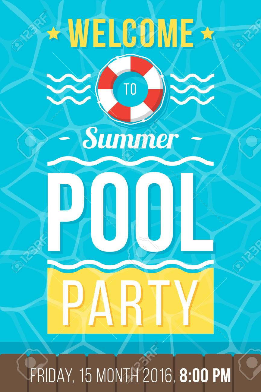 Colorful Vector Poster Flyer Or Banner Template For Pool Party
